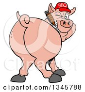 Cartoon Rear View Of A Grinning Pig Looking Back Smoking A Cigar And Wearing A Bbq Hat