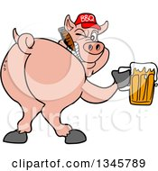 Clipart Of A Cartoon Rear View Of A Grinning Pig Looking Back Smoking A Cigar Wearing A Bbq Hat Holding A Beer Royalty Free Vector Illustration