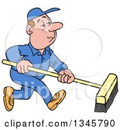 Cartoon White Male Janitor Using A Push Broom