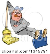 Cartoon Relaxed White Male Janitor Relaxing On A Broom And Dustpan Rigged Like A Hammock