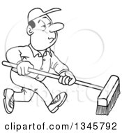 Outline Clipart Of A Cartoon Black And White White Male Janitor Using A Push Broom Royalty Free Lineart Vector Illustration by LaffToon