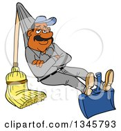 Cartoon Relaxed Black Or Hispanic Male Janitor Relaxing On A Broom And Dustpan Rigged Like A Hammock