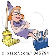 Cartoon White Housewife Relaxing On A Dustpan And Broom That She Rigged Up Like A Hammock