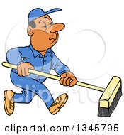 Cartoon Black Or Hispanic Male Janitor Using A Push Broom