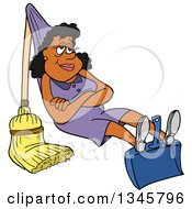 Cartoon Black Housewife Relaxing On A Dustpan And Broom That She Rigged Up Like A Hammock