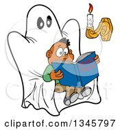 Clipart Of A Cartoon Scared Black Boy Reading A Book Of Spooky Tales On A Ghost Chair With Candle Light Royalty Free Vector Illustration by LaffToon