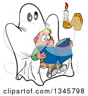 Clipart Of A Cartoon Scared White Boy Reading A Book Of Spooky Tales On A Ghost Chair With Candle Light Royalty Free Vector Illustration by LaffToon