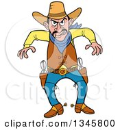Clipart Of A Cartoon Angry Cowboy Ready To Draw His Guns For A Fight Royalty Free Vector Illustration