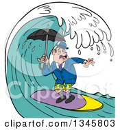 Cartoon Surfing English Man Holding An Umbrella Under A Wave