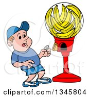Clipart Of A Cartoon Caucasian Boy Surprised To See A Candy Machine Full Of Bananas Royalty Free Vector Illustration