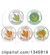 Clipart Of Raptor Dinosaur Foot Print Labels With Stars And Text 2 Royalty Free Vector Illustration