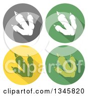 Clipart Of Flat Design Raptor Dinosaur Foot Prints With Shadows In Circles Royalty Free Vector Illustration