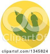 Clipart Of A Flat Design Green Raptor Dinosaur Foot Print With A Shadow In A Yellow Circle Royalty Free Vector Illustration by Hit Toon