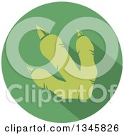 Clipart Of A Flat Design Raptor Dinosaur Foot Print With A Shadow In A Green Circle Royalty Free Vector Illustration by Hit Toon