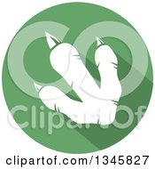 Clipart Of A Flat Design White Raptor Dinosaur Foot Print With A Shadow In A Green Circle Royalty Free Vector Illustration by Hit Toon