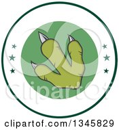 Clipart Of A Green Raptor Dinosaur Foot Print On A Label With Stars Royalty Free Vector Illustration
