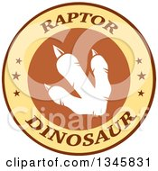Clipart Of A White Raptor Dinosaur Foot Print In A Brown And Yellow Label With Stars And Text Royalty Free Vector Illustration by Hit Toon