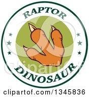 Clipart Of An Orange Raptor Dinosaur Foot Print In A Label Circle With Stars And Text Royalty Free Vector Illustration by Hit Toon