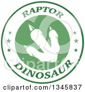 Clipart Of A White Raptor Dinosaur Foot Print In A Green And White Label With Stars And Text Royalty Free Vector Illustration by Hit Toon