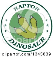 Clipart Of A Green Raptor Dinosaur Foot Print On A Label With Stars And Text Royalty Free Vector Illustration by Hit Toon