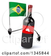 Clipart Of A 3d Wine Bottle Mascot Holding A Brazilian Flag Royalty Free Illustration