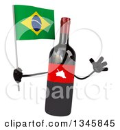 Clipart Of A 3d Wine Bottle Mascot Holding A Brazilian Flag And Jumping Royalty Free Illustration