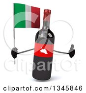 Clipart Of A 3d Wine Bottle Mascot Holding An Italian Flag And Giving A Thumb Up Royalty Free Illustration