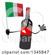 Clipart Of A 3d Wine Bottle Mascot Holding An Italian Flag And Jumping Royalty Free Illustration