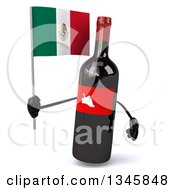 Clipart Of A 3d Wine Bottle Mascot Holding A Mexican Flag Royalty Free Illustration