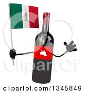 Clipart Of A 3d Wine Bottle Mascot Holding A Mexican Flag And Jumping Royalty Free Illustration