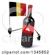 Clipart Of A 3d Wine Bottle Mascot Holding A Belgian Flag Royalty Free Illustration
