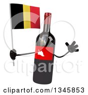 Clipart Of A 3d Wine Bottle Mascot Holding A Belgian Flag And Jumping Royalty Free Illustration