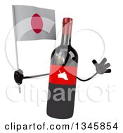 Clipart Of A 3d Wine Bottle Mascot Holding A Japanese Flag And Jumping Royalty Free Illustration