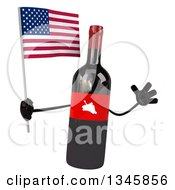 Clipart Of A 3d Wine Bottle Mascot Holding An American Flag And Jumping Royalty Free Illustration