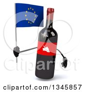 Clipart Of A 3d Wine Bottle Mascot Holding A European Flag Royalty Free Illustration