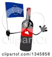 Clipart Of A 3d Wine Bottle Mascot Holding A European Flag And Jumping Royalty Free Illustration