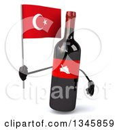 Clipart Of A 3d Wine Bottle Mascot Holding A Turkish Flag Royalty Free Illustration