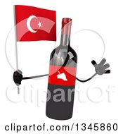 Clipart Of A 3d Wine Bottle Mascot Holding A Turkish Flag And Jumping Royalty Free Illustration