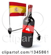 Clipart Of A 3d Wine Bottle Mascot Holding A Spanish Flag Royalty Free Illustration