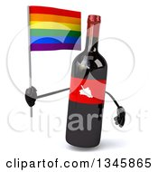 Clipart Of A 3d Wine Bottle Mascot Holding A Rainbow Flag Royalty Free Illustration