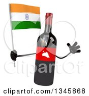 Clipart Of A 3d Wine Bottle Mascot Holding An Indian Flag And Jumping Royalty Free Illustration
