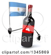 Clipart Of A 3d Wine Bottle Mascot Holding An Argentine Flag Royalty Free Illustration