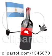 Clipart Of A 3d Wine Bottle Mascot Holding An Argentine Flag And Jumping Royalty Free Illustration