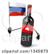 Clipart Of A 3d Wine Bottle Mascot Holding A Russian Flag Royalty Free Illustration