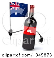Clipart Of A 3d Wine Bottle Mascot Holding An Australian Flag Royalty Free Illustration