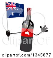 Clipart Of A 3d Wine Bottle Mascot Holding An Australian Flag And Jumping Royalty Free Illustration