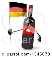 Clipart Of A 3d Wine Bottle Mascot Holding A German Flag Royalty Free Illustration