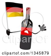 Clipart Of A 3d Wine Bottle Mascot Holding A German Flag And Jumping Royalty Free Illustration