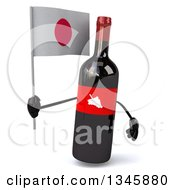 Clipart Of A 3d Wine Bottle Mascot Holding A Japanese Flag Royalty Free Illustration