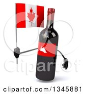 Clipart Of A 3d Wine Bottle Mascot Holding A Canadian Flag Royalty Free Illustration